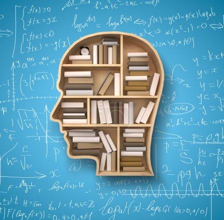 Photo pour Plateau en forme de tête et de livres sur des arrière-plans de formules - image libre de droit