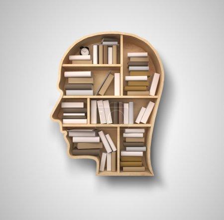 Photo pour Étagère de livre en forme de tête sur fond gris - image libre de droit