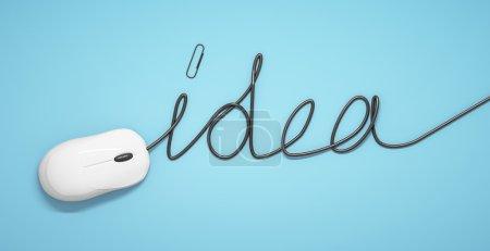 Photo pour Souris et câbles en forme d'idée sur fond bleu - image libre de droit