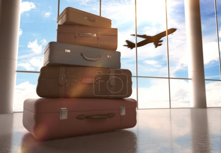 Photo for Travel bags in airport and airliner in sky - Royalty Free Image