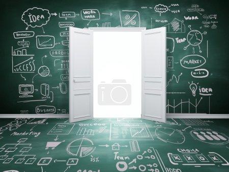 Photo pour Ouvert porte et dessin cocept - image libre de droit