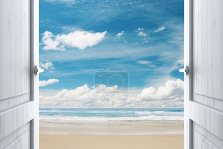 Photo for Room with open door to beach - Royalty Free Image