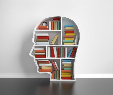 Photo for Bookshelf head with many colored book - Royalty Free Image