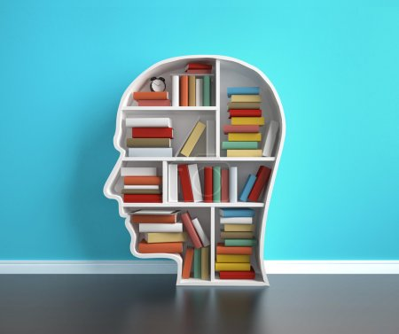 Photo pour Tête de bibliothèque avec livre coloré - image libre de droit