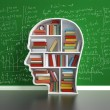 Education concept, bookshelf head with colored boo...