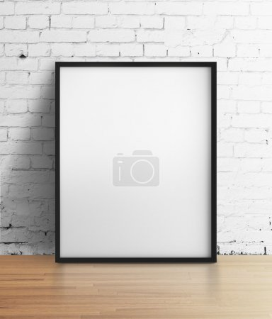Photo for White frame standing in brick room - Royalty Free Image