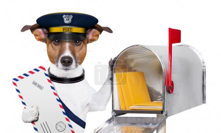 Photo for Postman mail dog with a air mail letter and mail box - Royalty Free Image