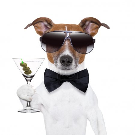Photo for Party dog toasting with a martini glass with olives - Royalty Free Image