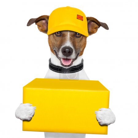 Photo for Dog delivery yellow post box with cap - Royalty Free Image