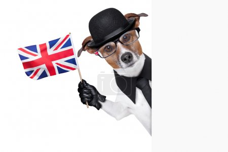Photo pour Chien British avec chapeau melon noir et costume noir, agitant un drapeau - image libre de droit