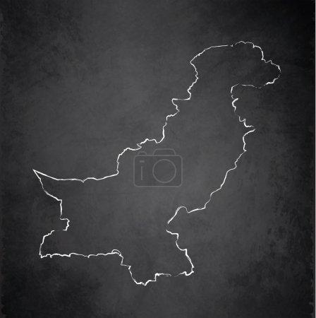 Pakistan map blackboard chalkboard raster