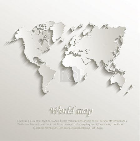 Illustration for Vector World map card paper 3D nature - Royalty Free Image
