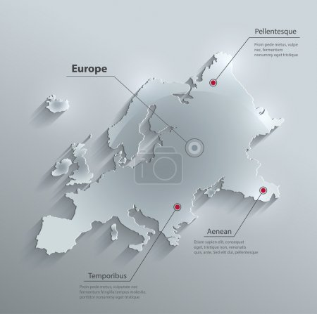 Illustration for Vector Europe map glass card paper 3D - Royalty Free Image