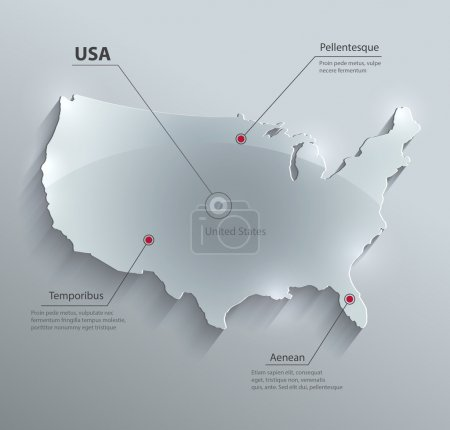 Illustration for Vector USA map glass card paper 3D america united states - Royalty Free Image