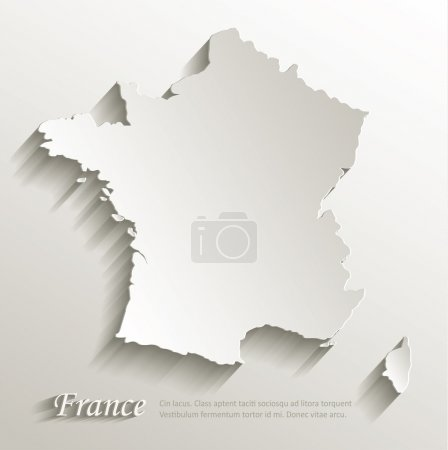 France map card paper 3D natural vector