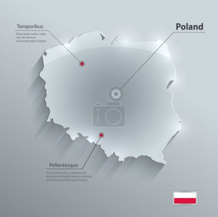 Poland map glass card paper 3D vector