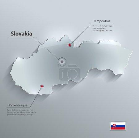 Slovakia map flag glass card paper 3D vector