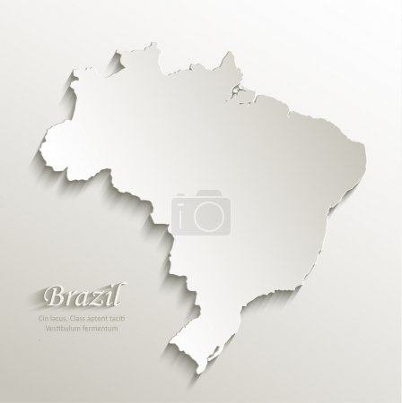Brazil map card paper 3D natural vector