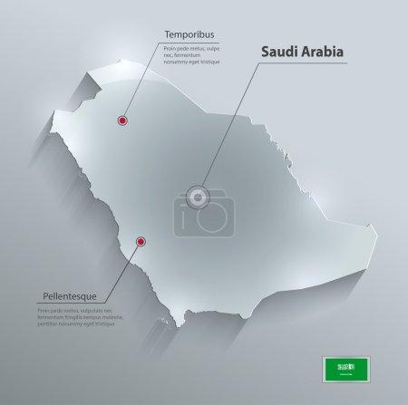 Saudi Arabia map flag glass card paper 3D vector