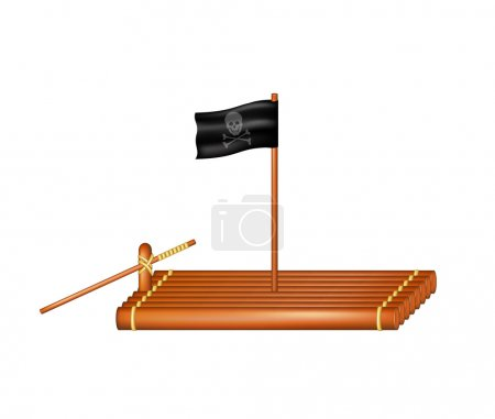 Wooden raft with pirate flag