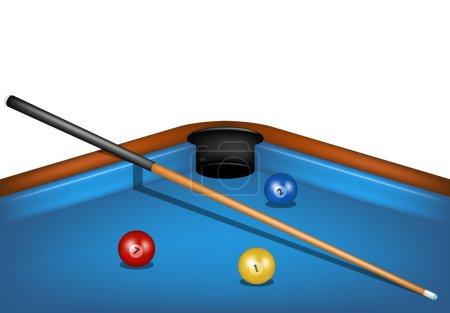 Billiard table with billiard cue and billiard balls