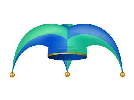 Illustration for Jester hat in blue and green design on white background - Royalty Free Image
