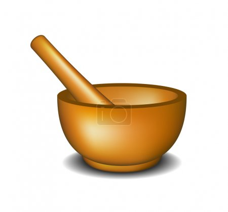 Illustration for Mortar and pestle in wooden design on white background - Royalty Free Image