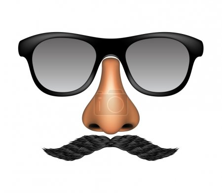 Illustration for Funny mask made of glasses, mustache and nose on white background - Royalty Free Image