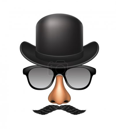 Illustration for Funny mask made of glasses, mustache, nose and bowler hat on white background - Royalty Free Image