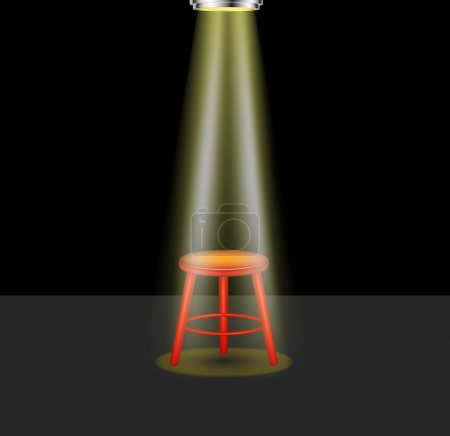 Illustration for Light shines on empty stool on stage on dark background - Royalty Free Image