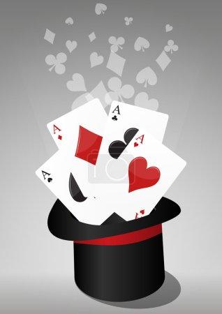 Illustration pour Illustration du chapeau haut de forme de la magie avec des as - image libre de droit