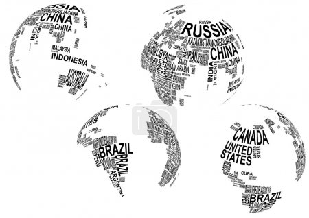 Illustration for Illustration of world map globe with country name - Royalty Free Image
