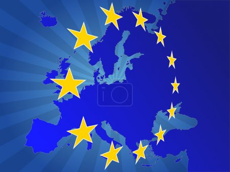 Illustration for Illustration of europe map with yellow stars - Royalty Free Image