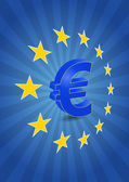 Illustration of euro currency symbol with europe stars