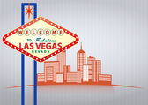 Illustration of las vegas sign with urban city