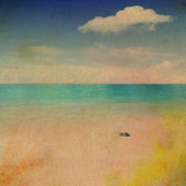Retro beach and blue sky