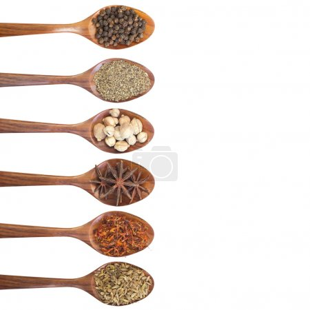 Photo for Collection of 6 spices on a wooden spoon. isolated on a white background, clipping path - Royalty Free Image