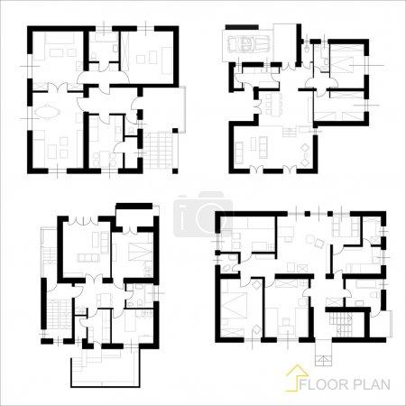 Photo pour Vecteur architectural appartement plan d'étage - image libre de droit