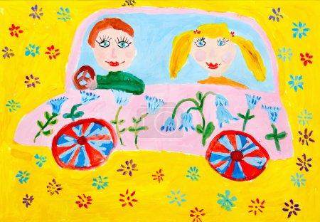 Foto de Acuarela infantil de que montar en el coche - Imagen libre de derechos