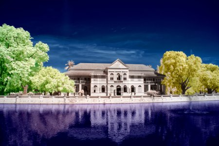 Infrared photo of ancient colonial palace.