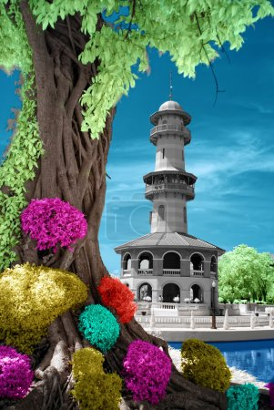 Infrared of colourful tower.