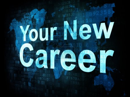 Photo pour Job, le concept de travail : pixélisé mots votre nouvelle carrière à l'écran numérique, rendu 3d - image libre de droit