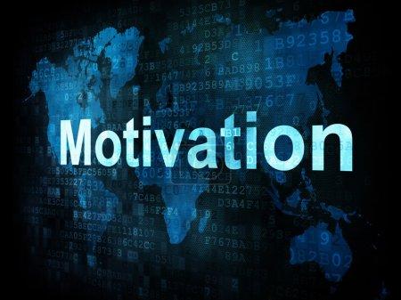 Photo pour Job, le concept de travail : pixélisé mots motivation sur écran digital, rendu 3d - image libre de droit