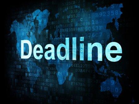 Photo pour Job, le concept de travail : pixélisé mots délai sur écran digital, rendu 3d - image libre de droit