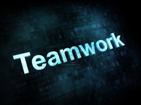 Photo pour Trabajo, concepto de trabajo: pixelado palabras trabajo en equipo en la pantalla digital, render 3d - image libre de droit