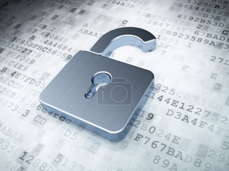 Photo for Silver opened padlock on digital background, 3d render - Royalty Free Image