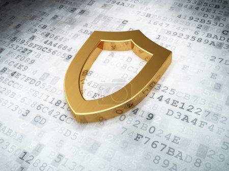 Goldenes konturiertes Schild auf digitalem Hintergrund