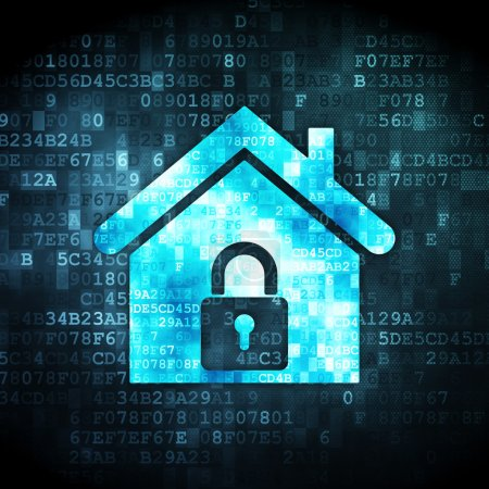 Photo for Security concept: pixelated home icon on digital background, 3d render - Royalty Free Image