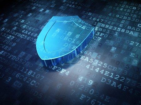 Photo pour Concept de sécurité : Bouclier bleu sur fond numérique, rendu 3d - image libre de droit
