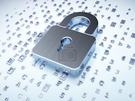 Photo pour Concept de sécurité : cadenas fermé argent sur fond numérique, rendu 3d - image libre de droit